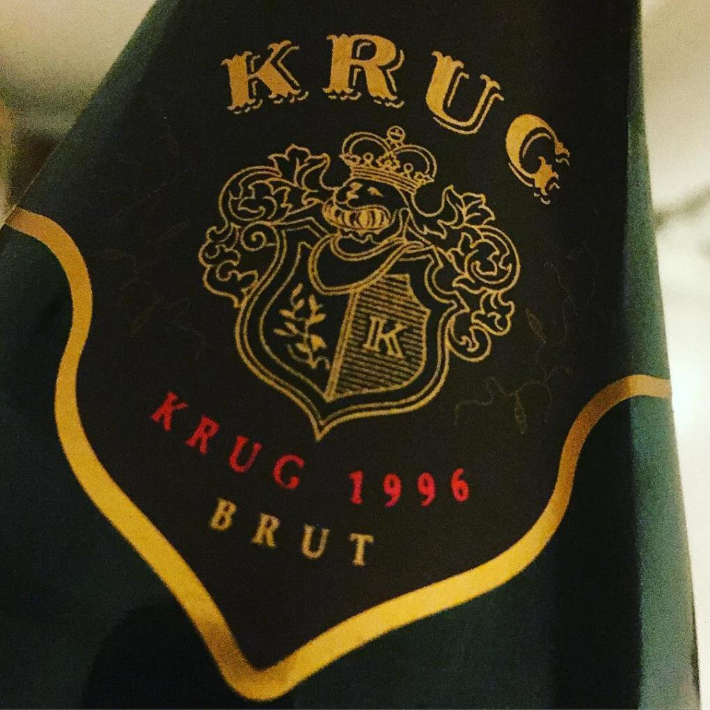 a bottle of Champagne Krug 1996