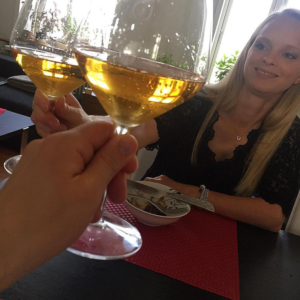 sharing a bottle of Krug 1996