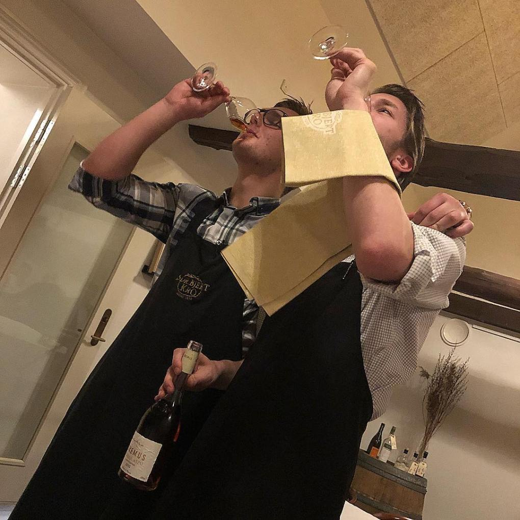 waiters testing the wine