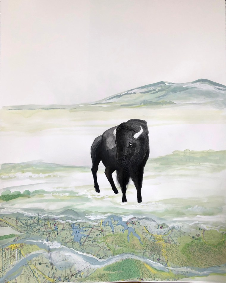 Buffalo Tryptic Part 2 Mixed Media Collage by Johanna Mueller