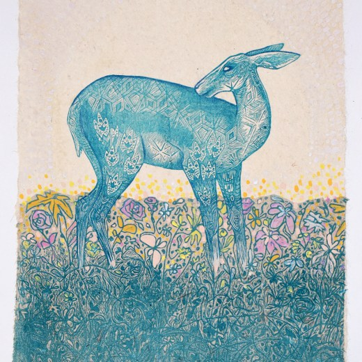 Doe Blue Mixed Media Collage by Johanna Mueller