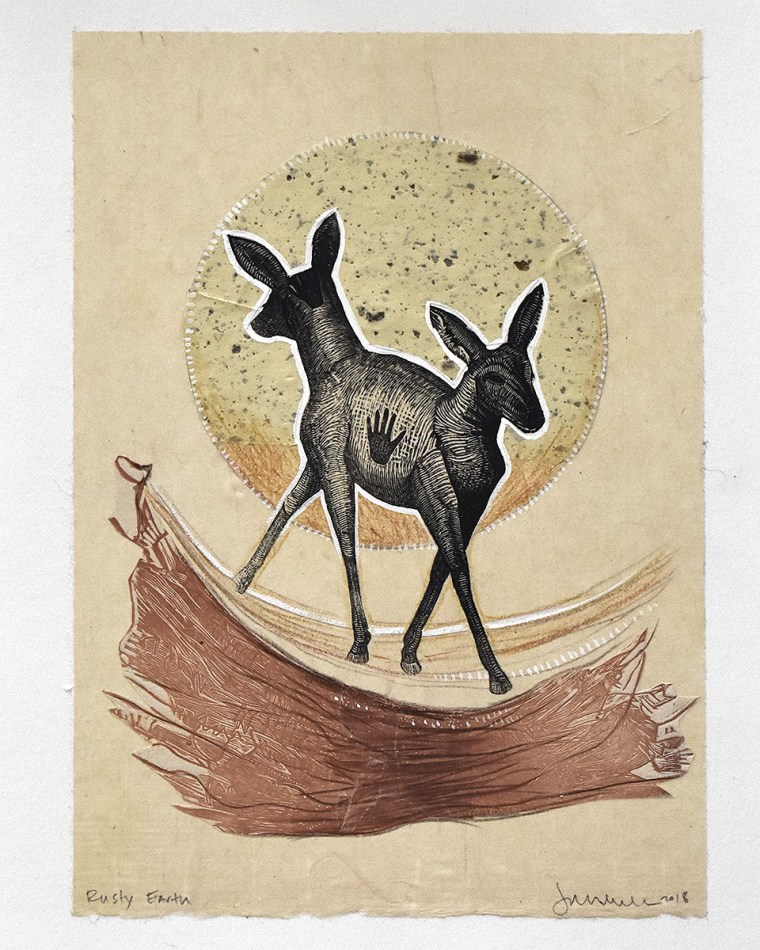 Double Deer Earth Mixed Media Collage by Johanna Mueller