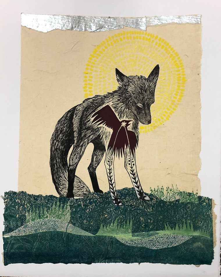 Fox with Silver Sunrise Mixed Media Collage by Johanna Mueller