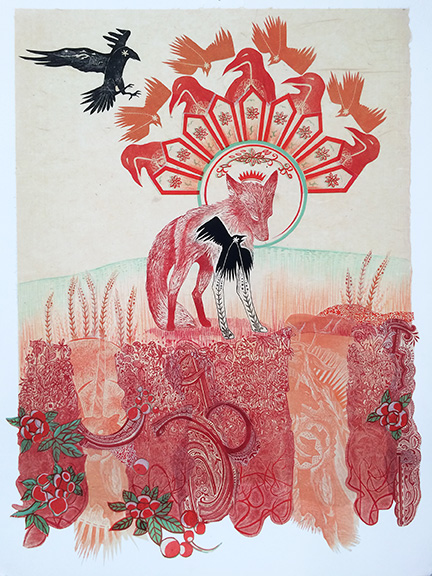 Fox Signs Mixed Media Collage by Johanna Mueller