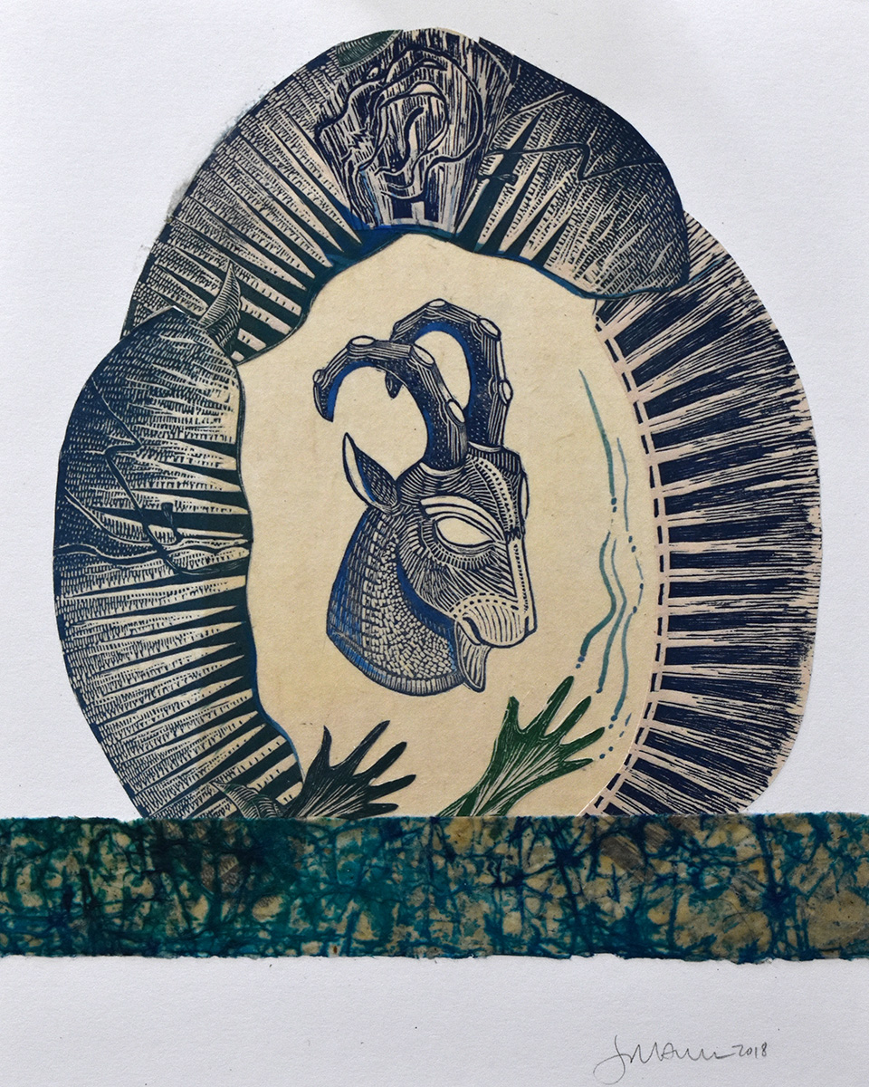 Ibex with Hands Mixed Media Collage by Johanna Mueller