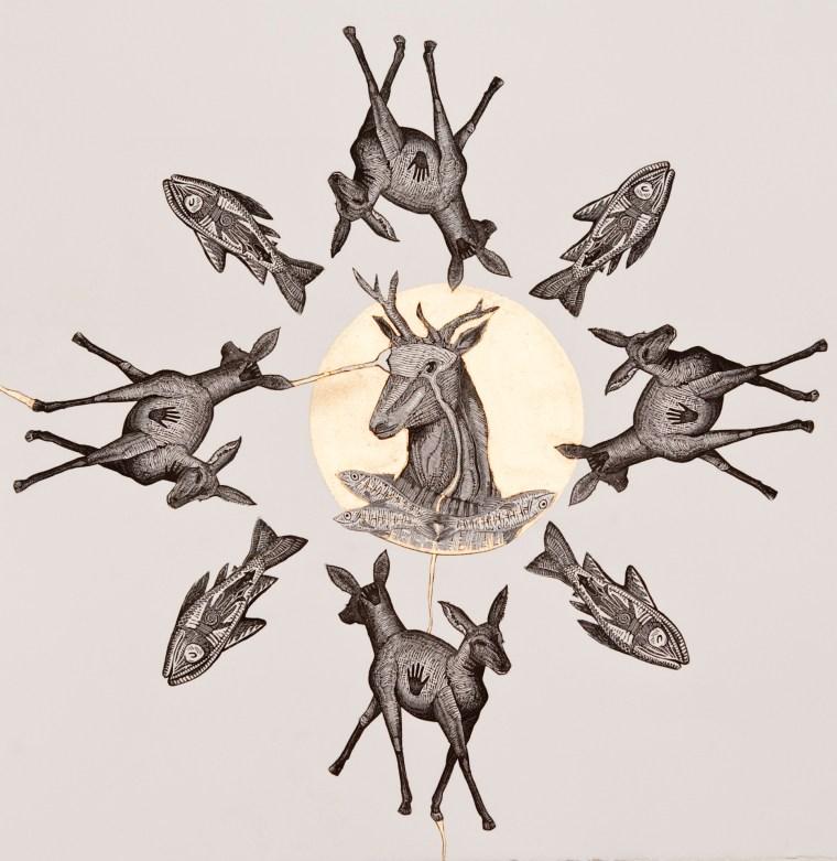 Mandala Male Mixed Media Collage by Johanna Mueller