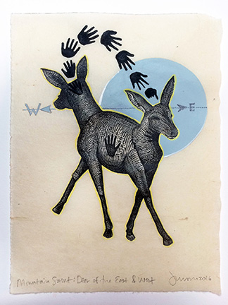 Mountain Saint Deer of the East and West Mixed Media Engraving by Johanna Mueller