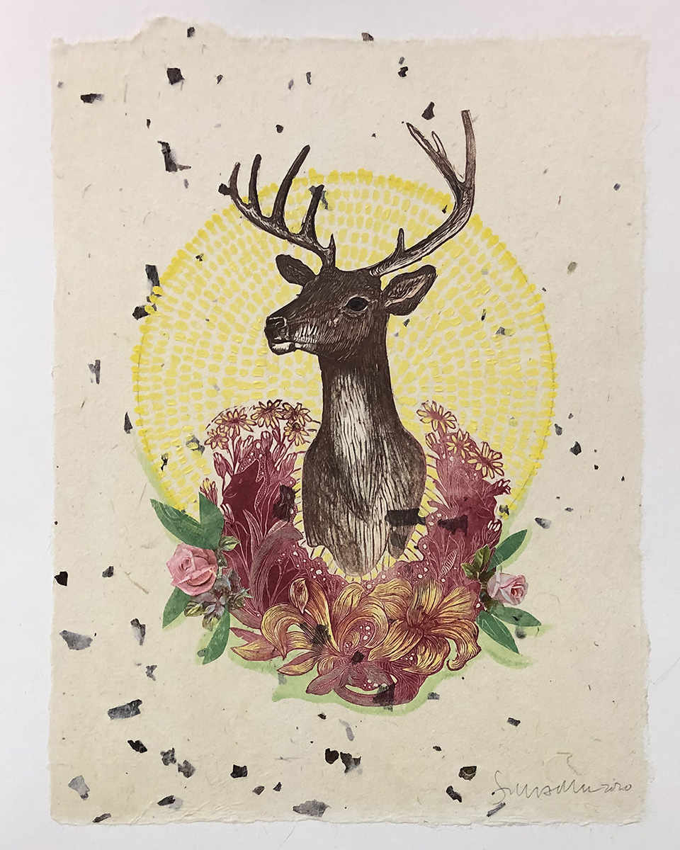 Trophy Stag with Wreath Mixed Media Collage by Johanna Mueller