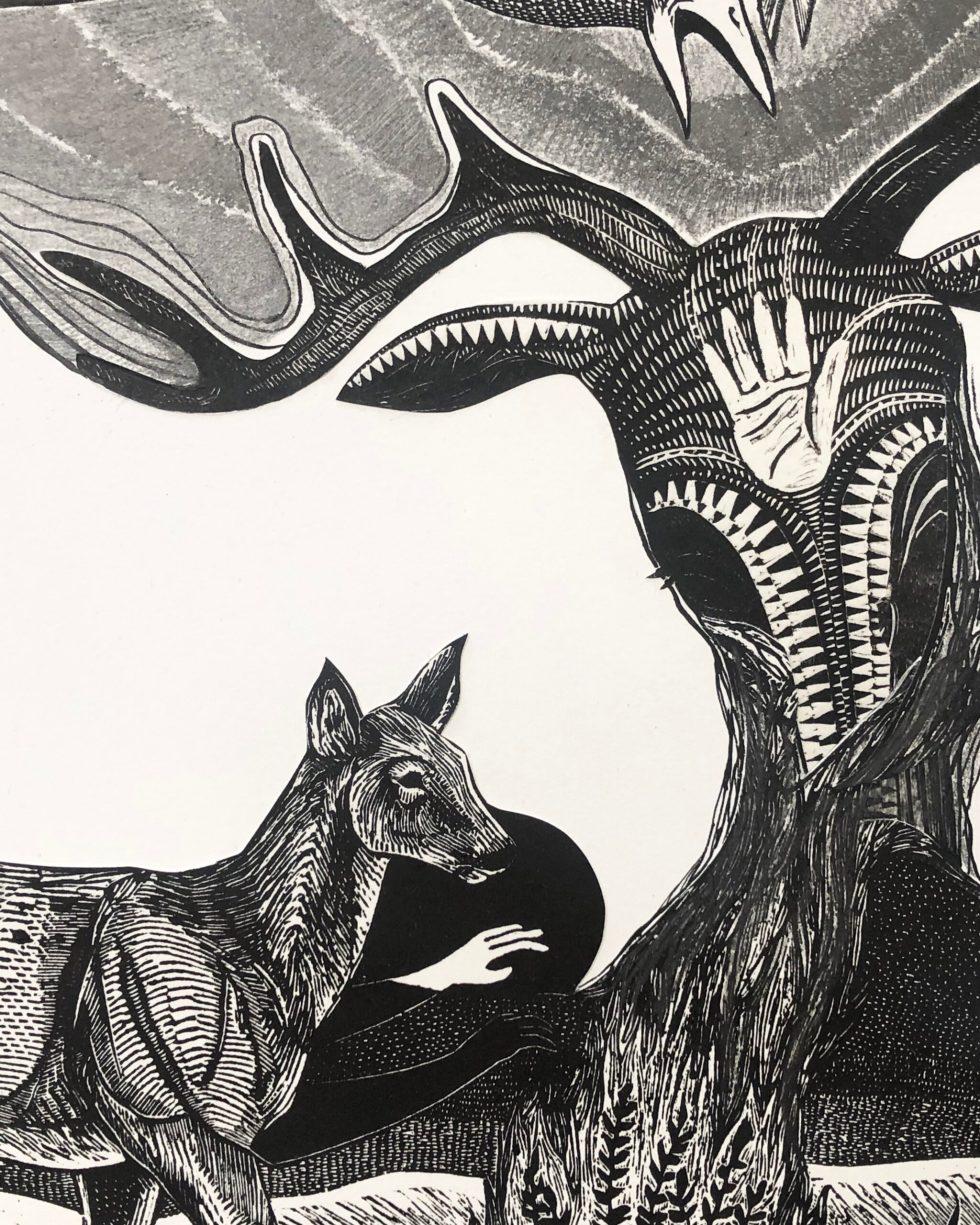 Dark Sky Mixed Media Print by Johanna Mueller, Detail 1