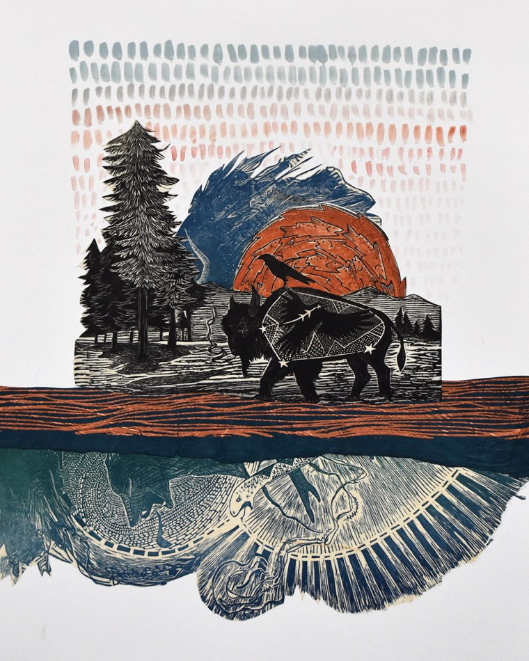 Copper River Copper Sky Mixed Media Collage Print by Johanna Mueller