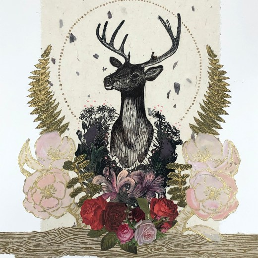 Stag-Trophy-Celebration-Mixed-Media-Collage