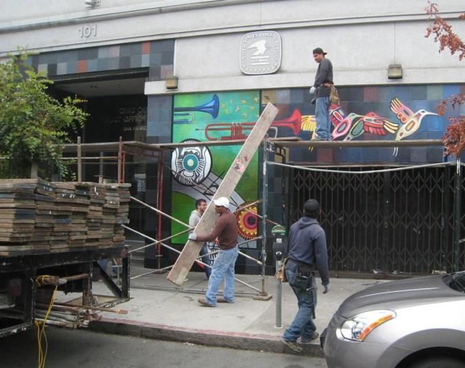 scaffolding down