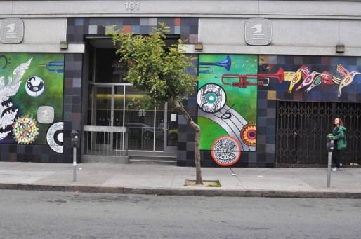 Hummingbird postoffice mural entrance