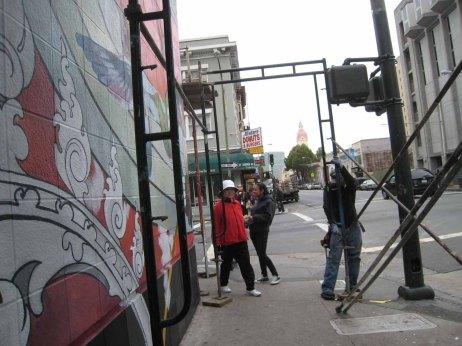 scaffolding down corner