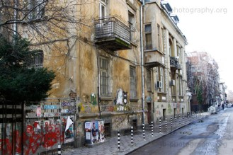 Dilapidated residential building in central Sofia.