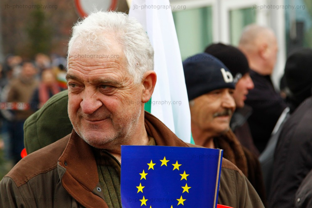 Man with EU flag