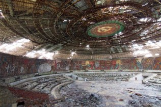 Inside the dome of the Buzludzha monument