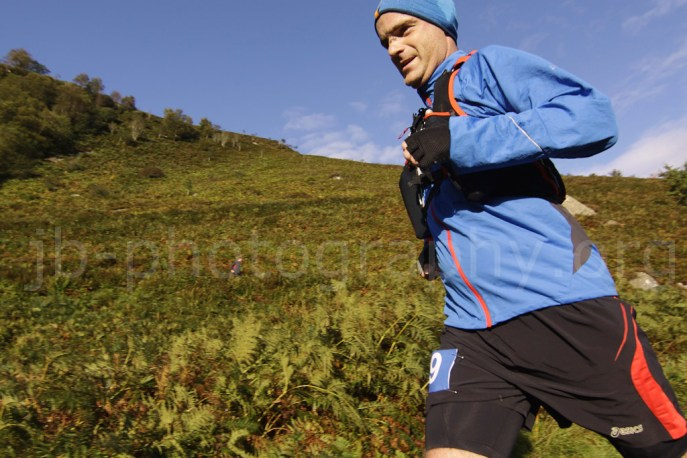 Athlete speeding downhill