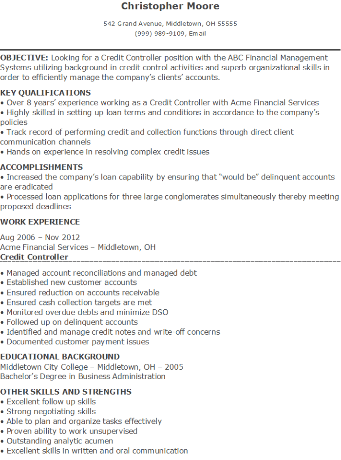 sample credit controller resume