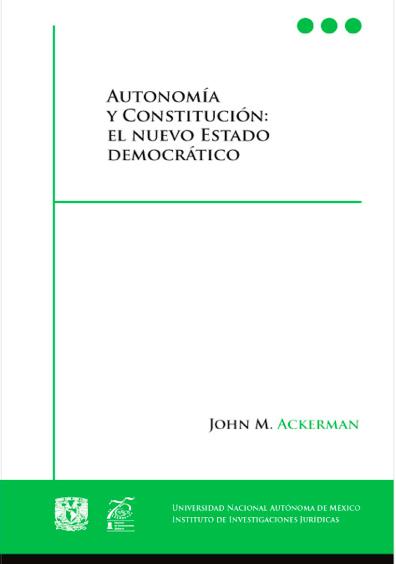 Book Cover: Autonomía y Constitución: el nuevo Estado democrático