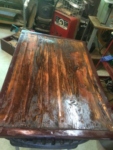 Cedar barn-board coffee table