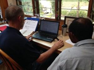Ben & John translating and recording the Jesus Film in Kamea using BSVT