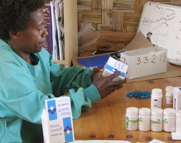 Margaret sorting TB medicine for some of our many TB patients.