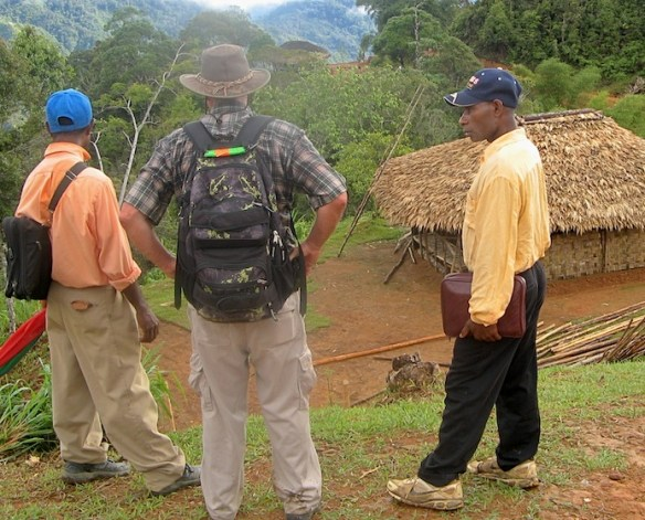 Nathaniel Moses, Missionary Wil Muldoon, & Benjamin Patrick look at the new church building at Ipaiyu earlier this year
