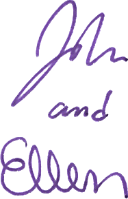 John over Ellen purple vertical sigs