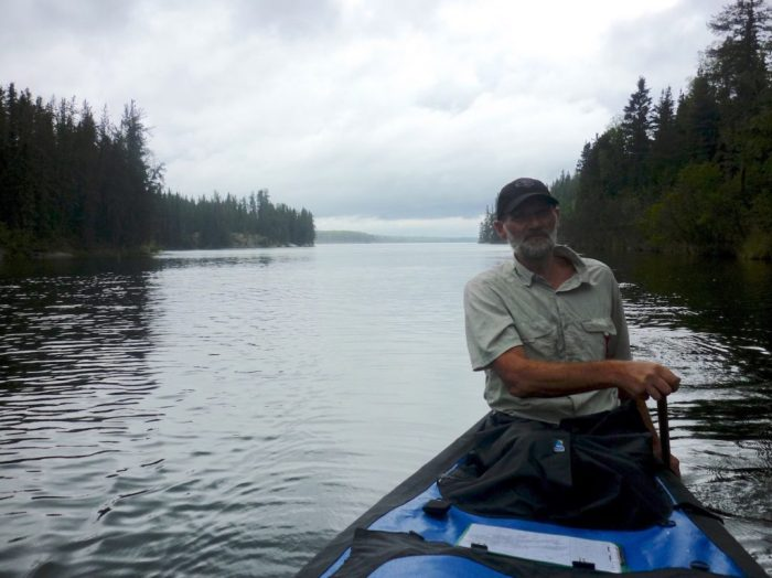 Paddling towards the portage out of Diefenbaker Bay during a break in the rain