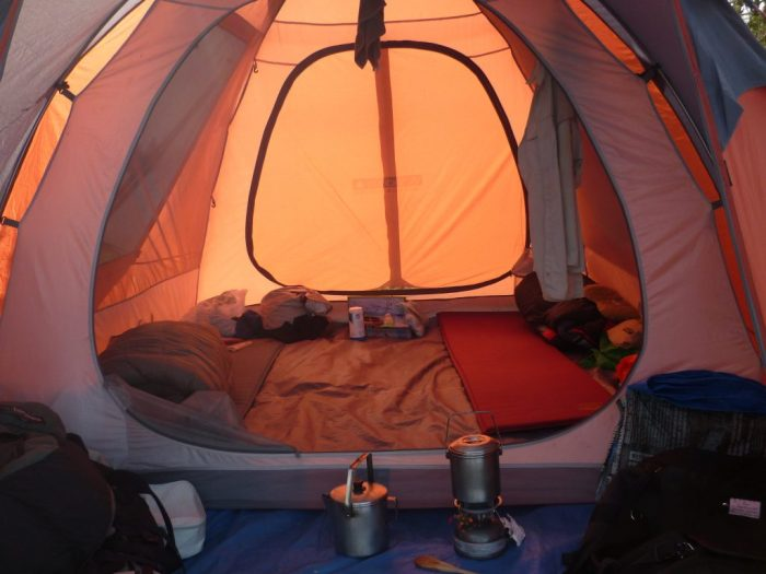 Our four person tent has lots of room with just two