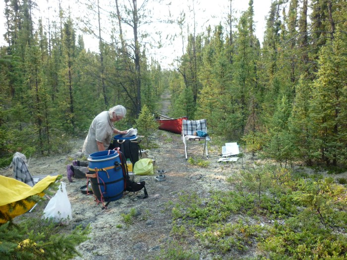 Camp at un-named lake #5 end of the Muskeg Portage