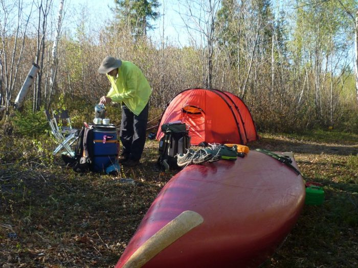 After dinner coffee, southern end of the Chipman Portage, most of the deciduous trees were still in bud, not yet summer this far north