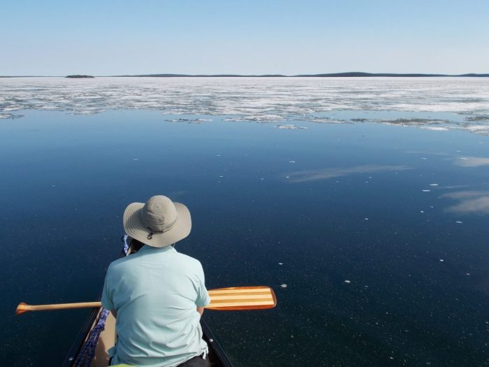 The edge of the ice was quite irregular, we were often paddling right along its southern edge in warm perfect conditions