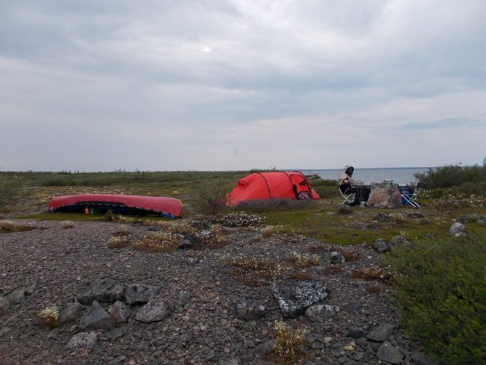 Camp on large island, northern Nicholson Lake