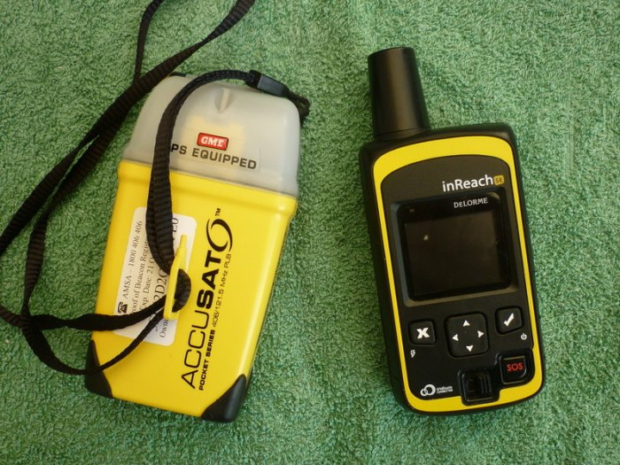 GPS equipped personal locator beacon (L) and DeLorme InReach GPS equipped satellite communicator and emergency beacon (R)