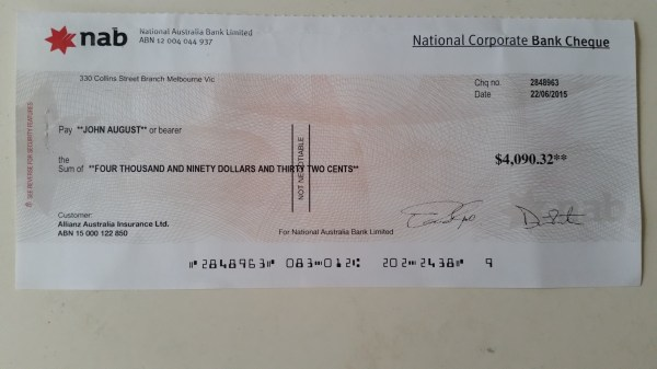 Macquarie Bank Cheque Example