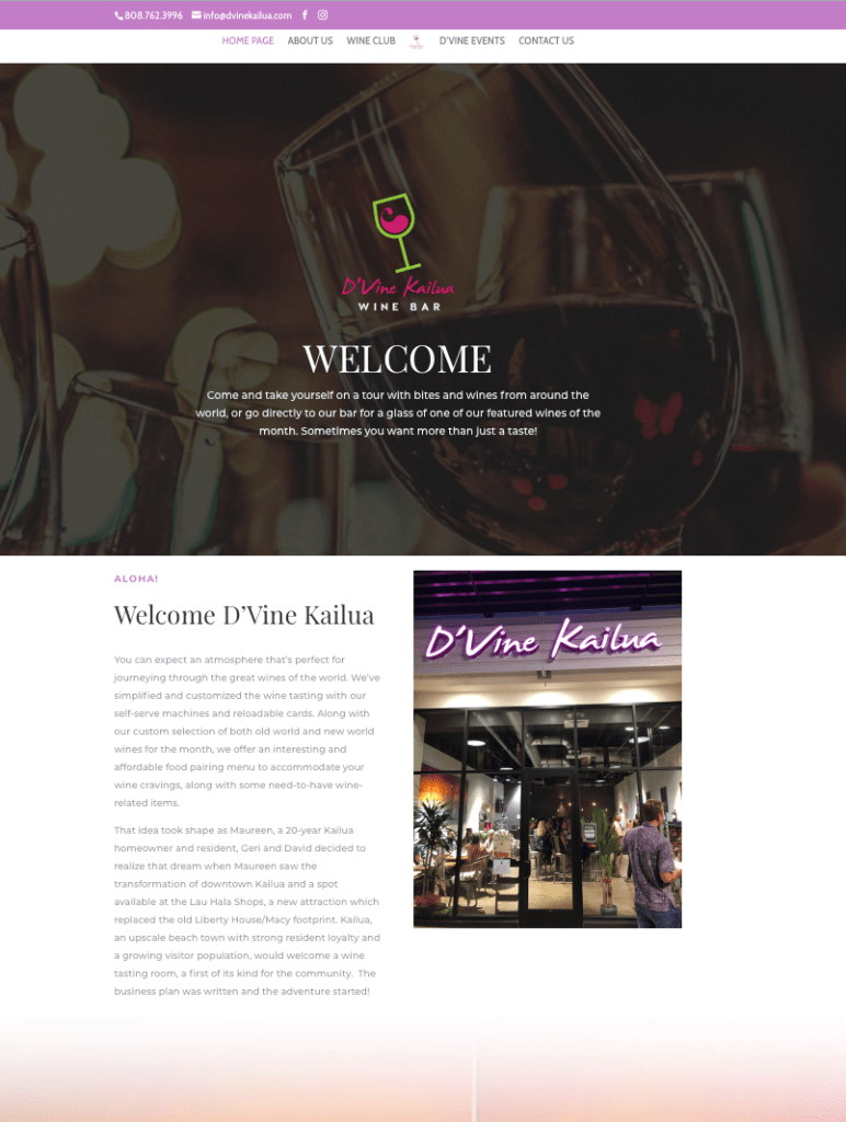 D'Vine Kailua Wine Bar and Tasting Room Page 1