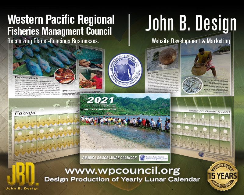 "2021 Samoan Lunar and Tidal Chart Calendar"" for the Western Pacific Regional Fisheries Mgmt Council"