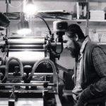 Len Fulton (left), John Bennett (right), Small Press Review print shop, circa late 70s