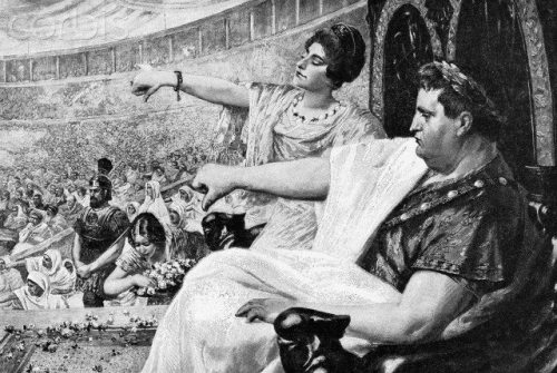 """Illustration Showing the Emperor Nero Giving the """"Thumbs Down"""" Signal"""