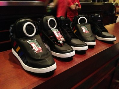 Row of talking shoes