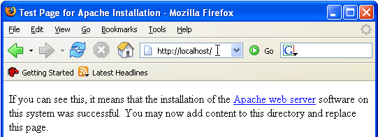Part of the Apache HTTP server test page in Mozilla Firefox