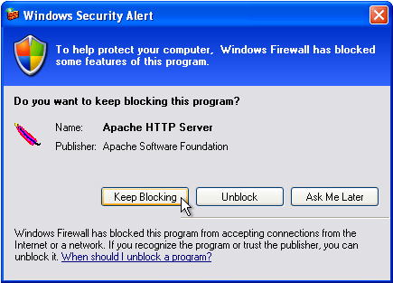 Windows Security Alert for the Apache HTTP server.