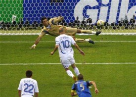 Zidane scoring France's only goal in the World Cup final