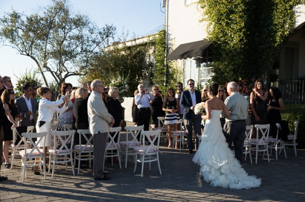 father walks bride down aisle, sonoma wedding