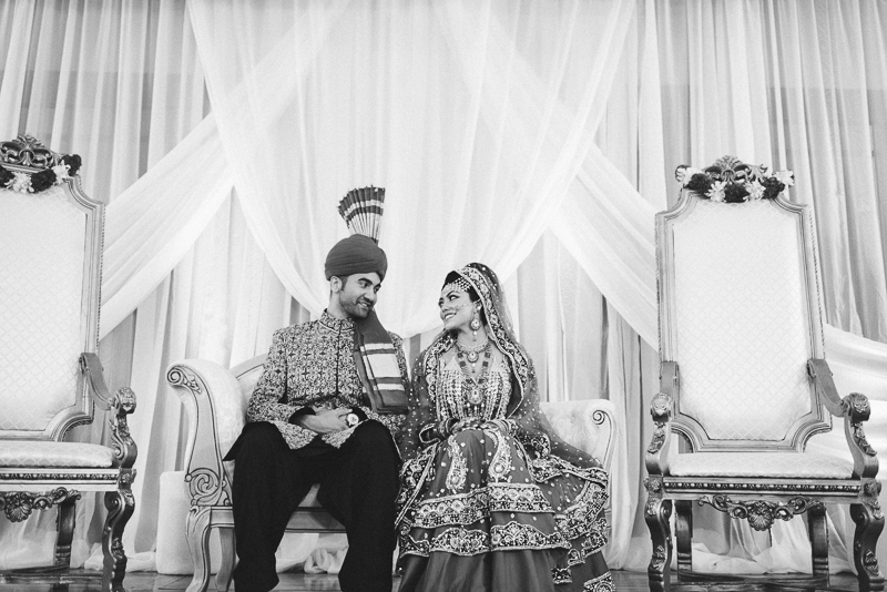 Denver Pakistani Wedding black and white bride and groom
