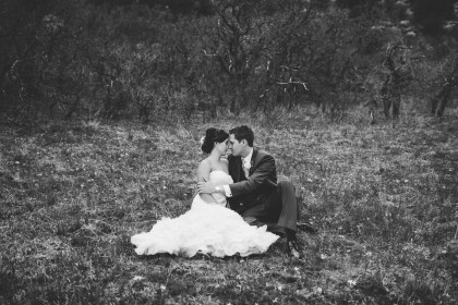 Spruce Mountain Ranch black and white happy wedding couple