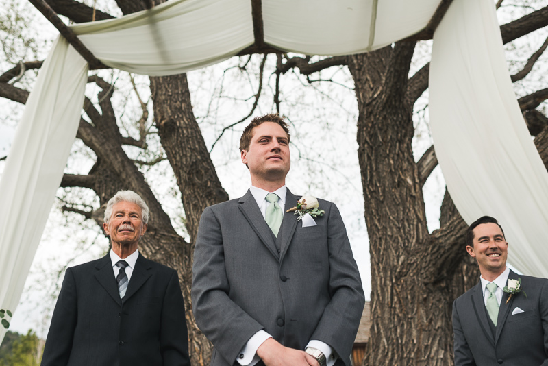Spruce Mountain Ranch Wedding Photography groom waiting
