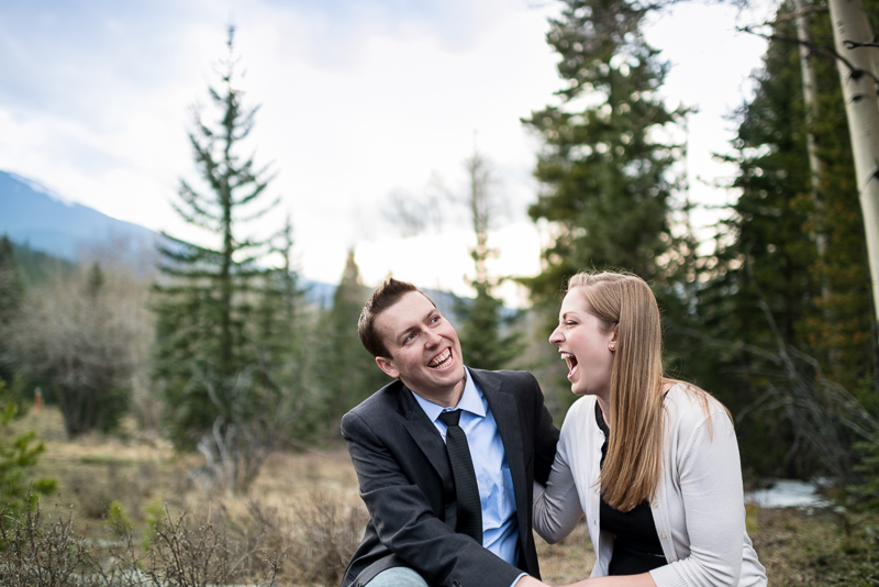 Evergreen Engagement Photos couple laughing